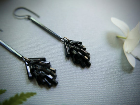 Black as Pitch // long black pine sprig earrings