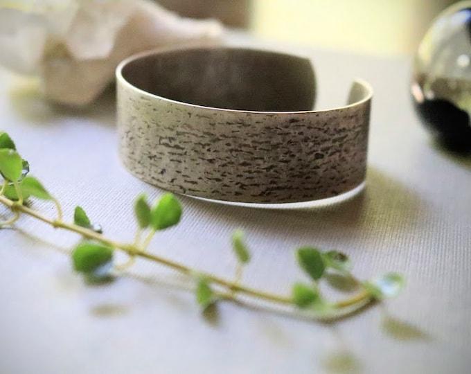 Old Barn // steel woodgrain cuff bracelet