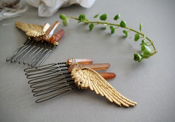 Valkyrie // raw crystal and golden wings hair combs - choose your crystal color! - perfect for a viking costume!