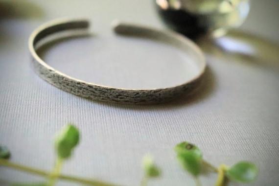 Old Barn // skinny steel woodgrain cuff bracelet