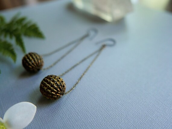 Mace and Chain // long vintage brass ball earrings
