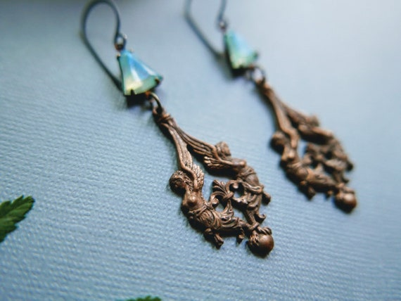 Harpy // brass harpy earrings