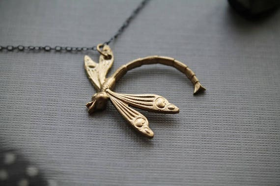 Damsel // brass damselfly necklace