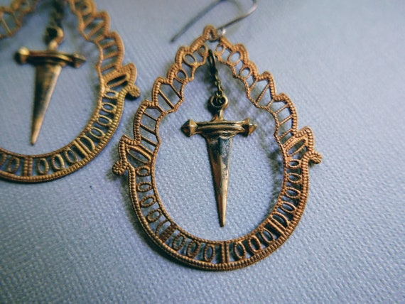 My Little Dagger // large filigree earrings with brass daggers