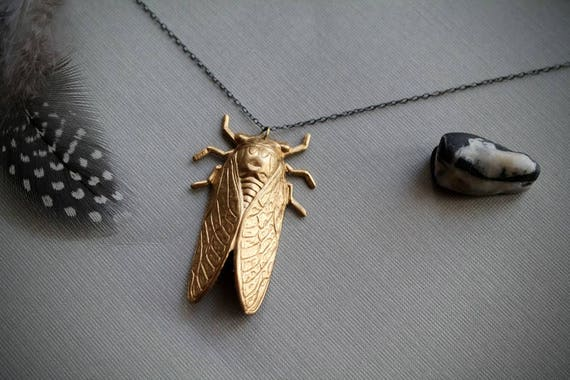 17 Years // raw brass cicada necklace