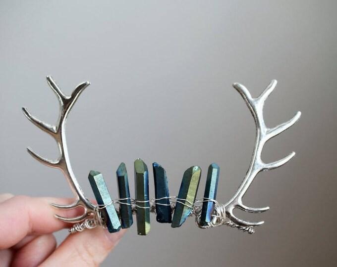 Elk // silver antler and blue crystal mini crown