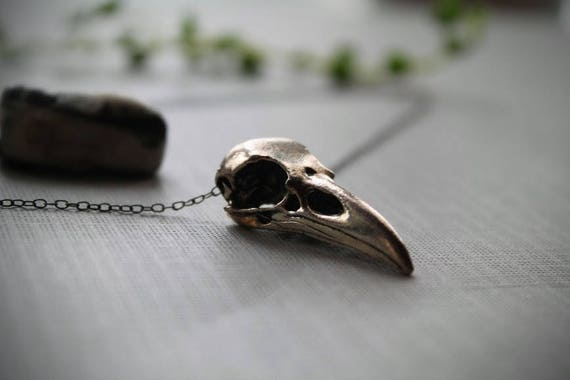 Murder // silver crow skull necklace