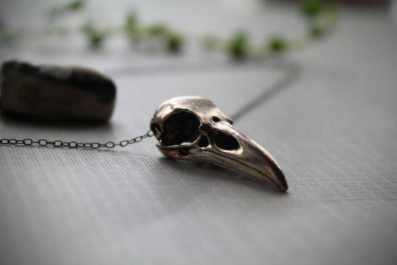 Murder // silver crow skull necklace image 0