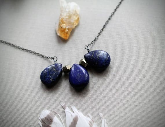 Indigo // lapis teardrop and pyrite necklace