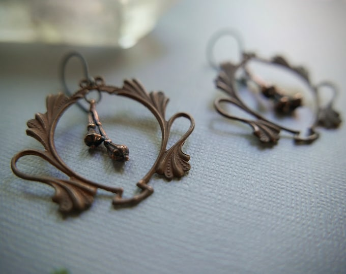 Drying Bundles // brass seed pod earrings with art nouveau frames
