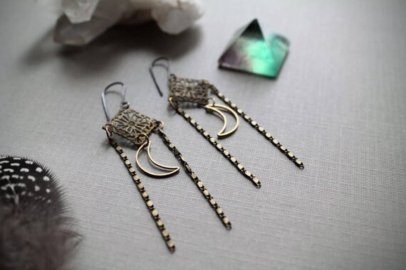 Harvest Moon // crescent moon and brass filigree diamond earrings