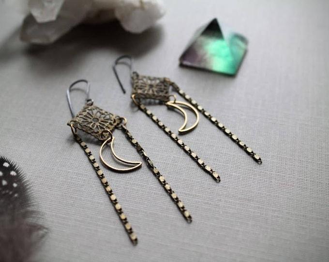 Harvest Moon // crescent moon and brass filigree diamond earrings