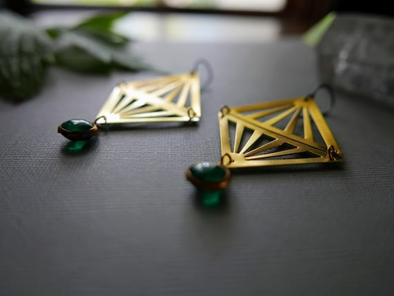 Bizarre Love Triangle // brass triangles and glowing green glass orb earrings