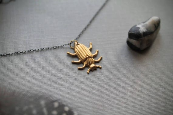 Potato Beetle // brass beetle necklace