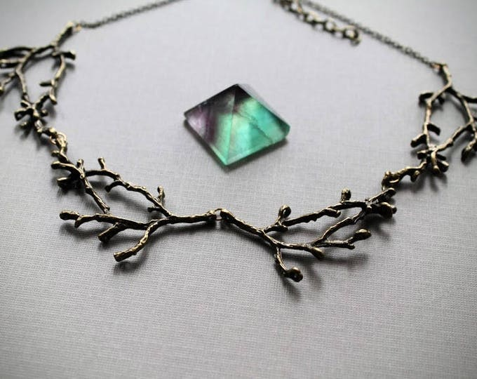 Hedgewitch in Hickory // brass branch necklace