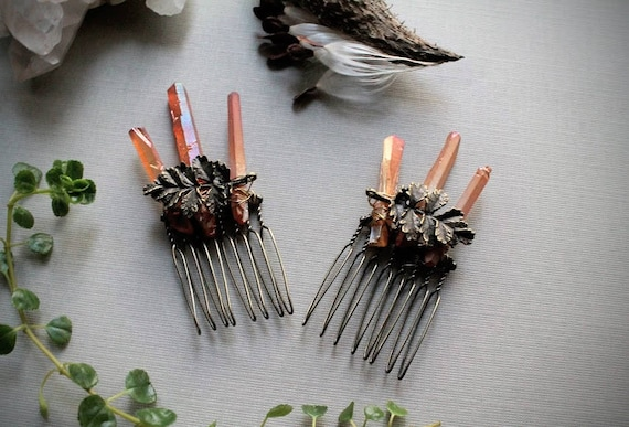 Forest Nymph // brass leaf and raw orange crystal hair combs - you can choose a single one or a pair!