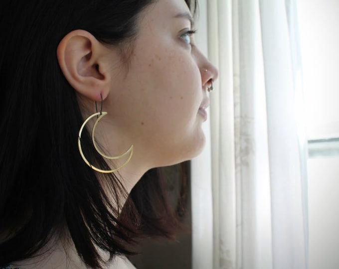 Moon Maiden // extra large brass crescent moon earrings
