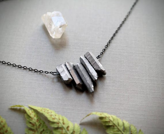 Silver // raw silver crystal necklace