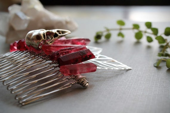 Red Sparrow // silver bird skull hair comb with silver leaves and blood red crystals