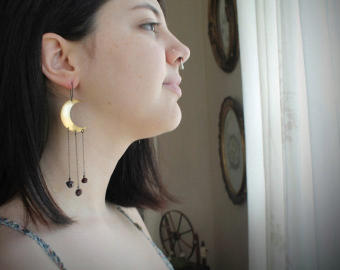 Moondust in Garnet // brass crescent moon and garnet earrings