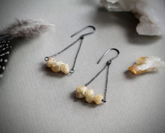 Stargrass // pale raw citrine crystal earrings