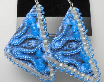 Unique Blue Triangle Beaded Quilt Cloth earrings on sterling ear wires, light weight
