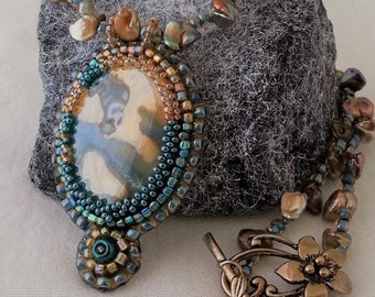 Bead embroidered Poured Paint teal and tan pendant with Gold Keshi Pearl Necklace