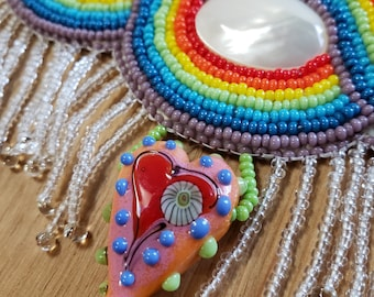 Rainbow Beaded Necklace with Rain Drop Fringe and Colorful Lampwork Glass Heart– Bead Embroidery MOP Mother of Pearl Cabs Infinity