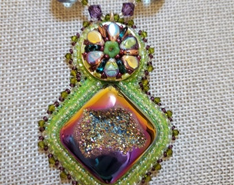 Druzy Girl Necklace and earring set - purple and lime green crystals with bubble beads