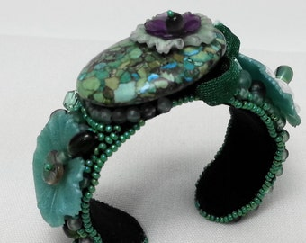 Green Bead and Turquoise Cuff Bracelet - bead embroidery and vintage beads and flowers