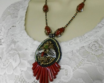 Pendant of deep green and red jasper / pipestone rust with Vintage Glass Lampwork beads