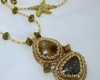 Fossil Coral Pendant - Bead Embroidery on Necklace of seed beads with Magnetic Starfish Clasp