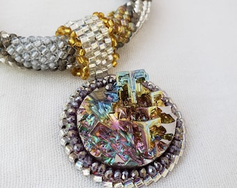 Bismuth Pendant on Silver, Pewter and Gold Beaded PWAT Rope Necklace