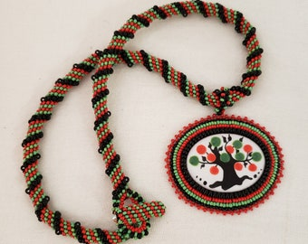 Tree of Life bead embroider pendant with Peyote Twist robe and beaded toggle - metal free