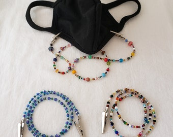Face Mask Beaded Holder 20 inch Lanyard - Design your own to wear until COVID is over