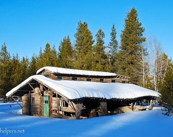 Polebridge Montana Barn, Once Upon A Time, Old Building, Snowcapped building, Greeting Card or Photographic Art Print