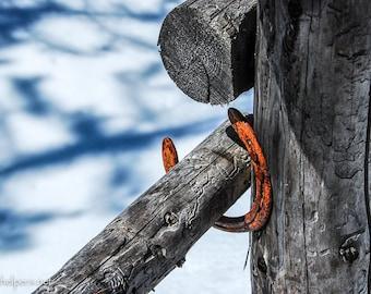 Montana Fence, Lucky Horseshoe, So Montana, Photograph or Greeting card