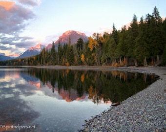 Autumn in Montana, Lake McDonald as the Sun Sets, Autumn Sunset, Montana Landscape, Glacier National Park, Photograph or Greeting card