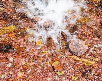 Refreshing Waterfall, Montana Rocks, Greeting Card or Photographic Print