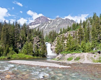 Running Eagle Falls, Trick Falls, Montana Waterfall, Glacier National Park, Rocky Mountains, Photograph or Greeting card