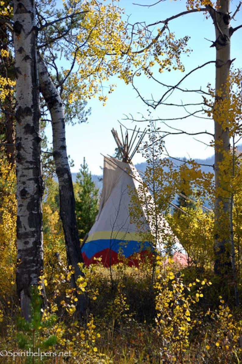 Montana Tipi Teepee in Autumn Woods Montana Landscape image 0