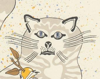 yellow apples cat silkscreen