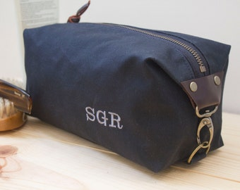 Gift for Men, Personalized Dopp Kit, Standard Size Toiletry Bag, Expandable Travel Bag - Water Resistant Lining, Waxed Canvas - Handmade