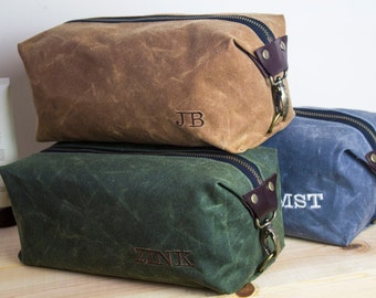 Gift for Men,Personalized Men's Dopp Kit, Expandable Men's Toiletry Bag, Travel Bag with Inside Pocket-Waxed Canvas