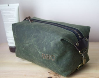 Gift for Men, Personalized Dopp Kit, Compact Size Toiletry Bag, Expandable Travel Bag - Waxed Canvas - Olive Green