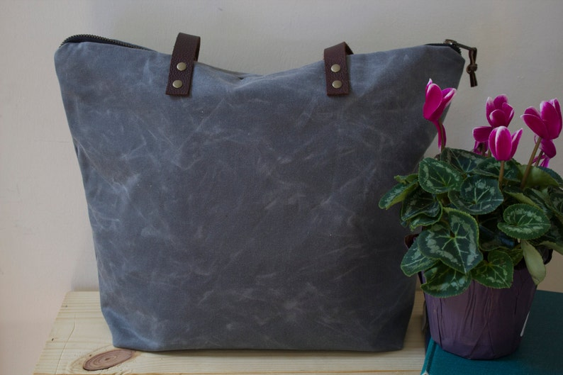 Large Tote Bag Gray Mother/'s Day Gift WAXED CANVAS Tote Bag with Leather Straps Shoulder Bag Handmade Free Domestic Shipping