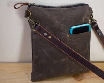WAXED CANVAS  Day Bag, Cross Body Bag, Messenger Bag with Leather Strap Available in 2 sizes and 7 Colors - Dark Oak