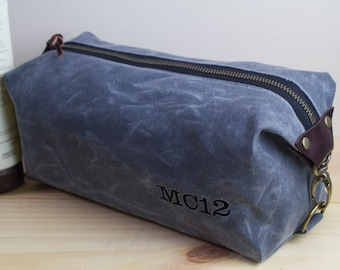 Gift for Men, Personalized Men's Dopp Kit, Toiletry Bag,  Travel Bag for Men with Inside Pocket - Water Resistant Lining, Waxed Canvas