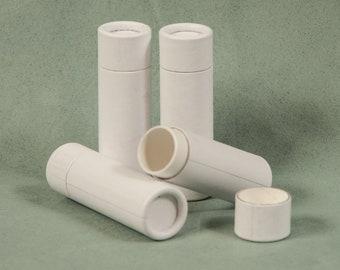 50 White Paper Lip Balm Tubes - Eco Friendly & Sustainable - 1/3 oz