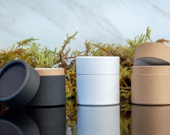 50 Eco Jars 2oz 60g - Kraft Paper Cosmetics Containers 2 ounce 60 ml g Black White Brown Cardboard